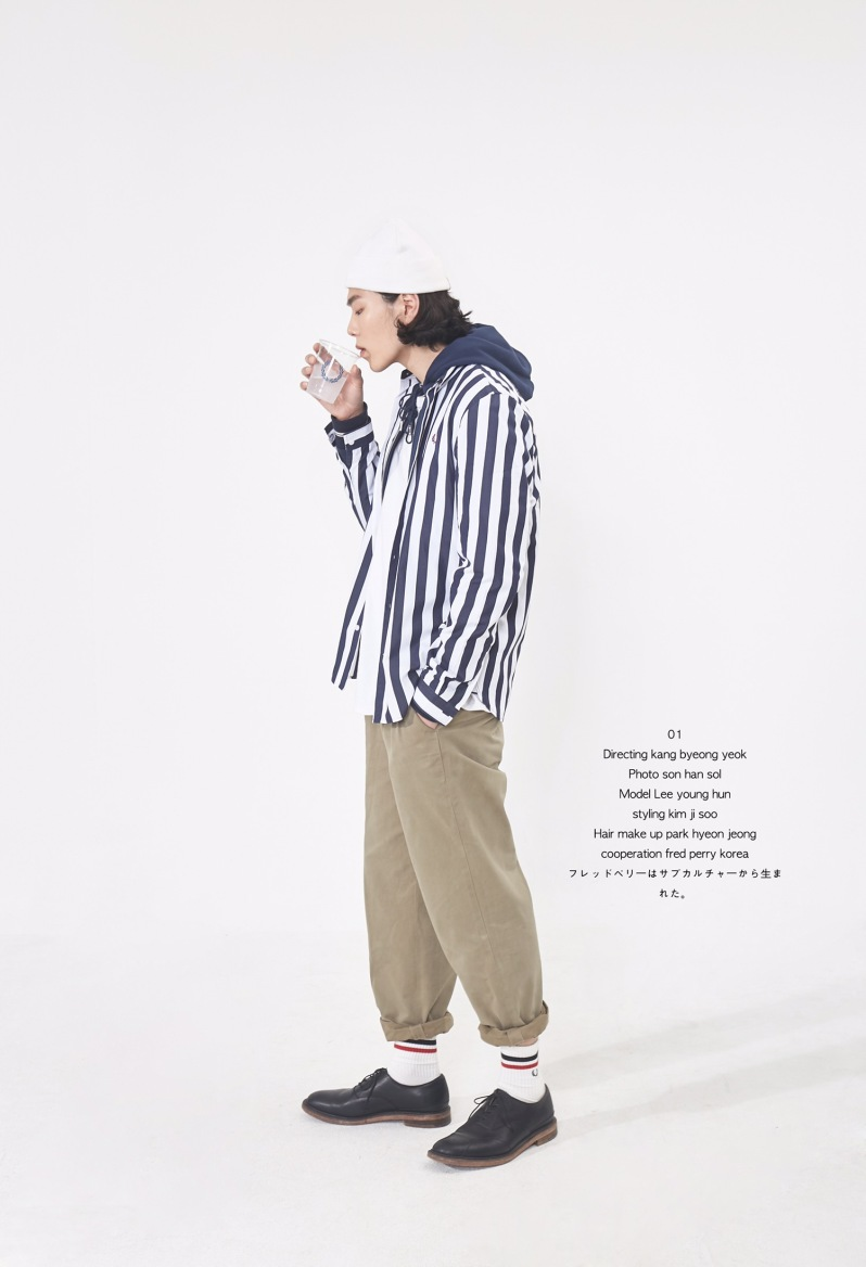 outer- fredperry shirt 개인소장,outer2 - fred perry hoodie 협찬,inner-fredperry 협찬, bottom- 스타일리스트 소장, shoes- julien david 모델소장,acc-socks 개인소장