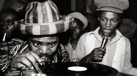 Coxsone International Sound System - Clement Dodd with the microphone